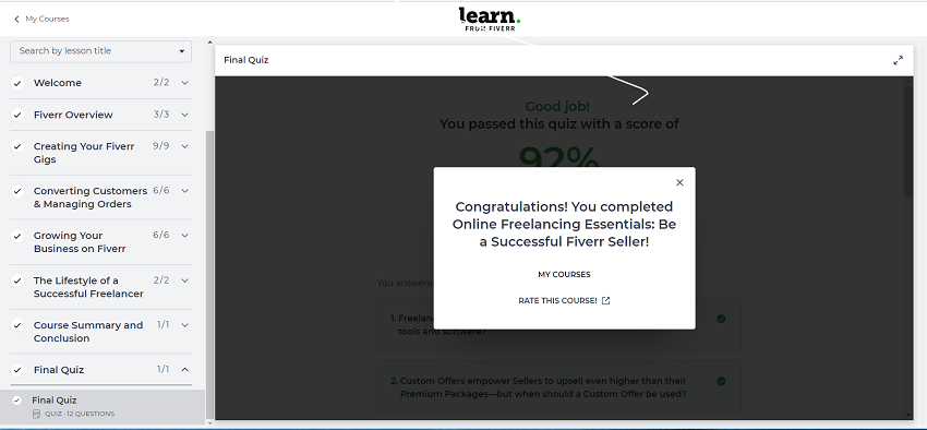 Fiverr Learn Pass Quiz and Rate